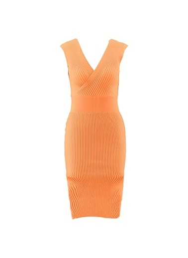 Setre Lila V Yaka Triko Elbise Oranj